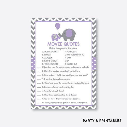 Elephant Movie Quotes / Non-Personalized / Instant Download (SBS.38)