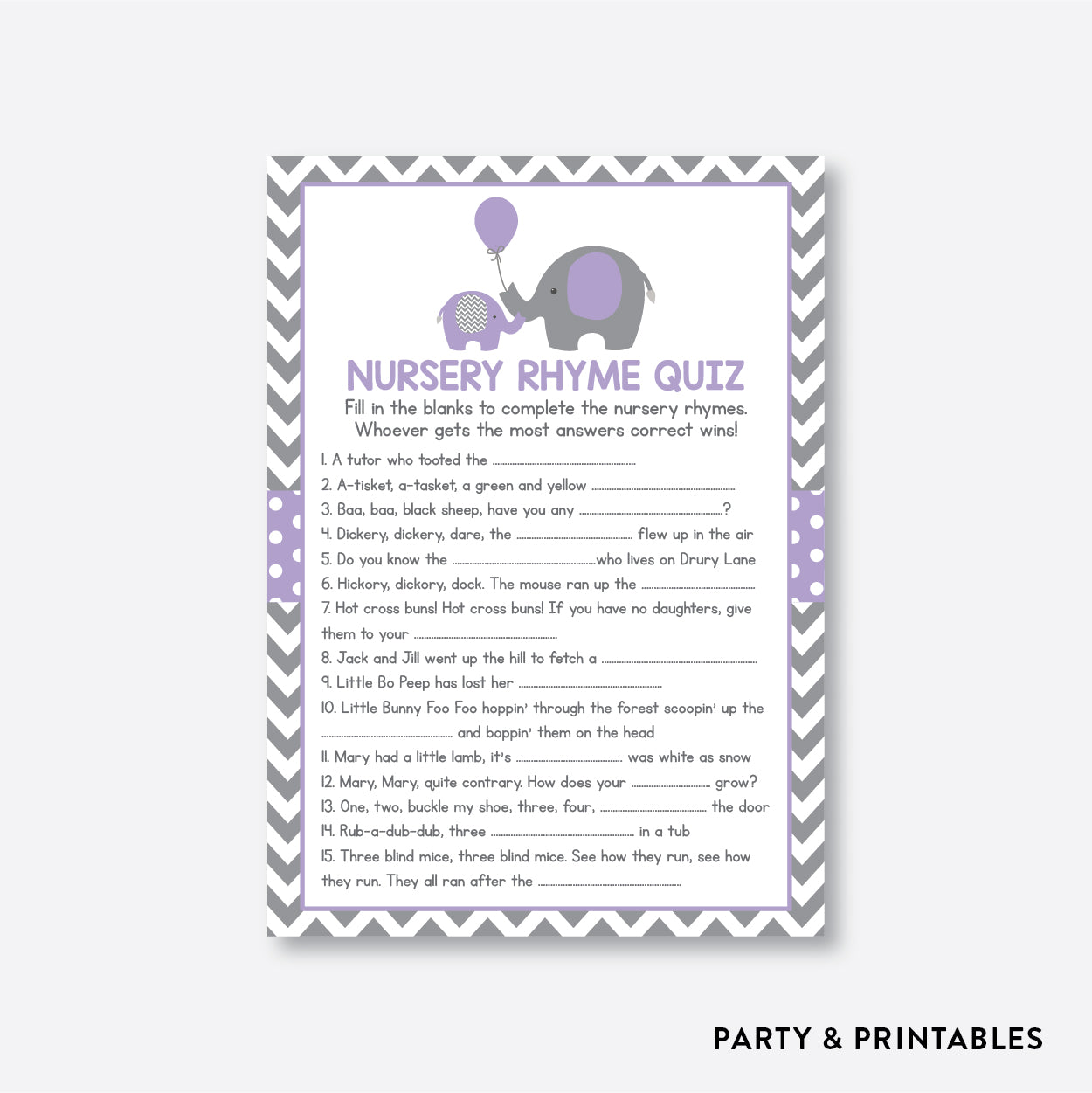 Elephant Nursery Rhyme Quiz / Non-Personalized / Instant Download (SBS.38)