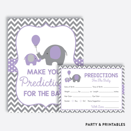 Purple Elephant Predictions For The Baby / Non-Personalized / Instant Download (SBS.38)