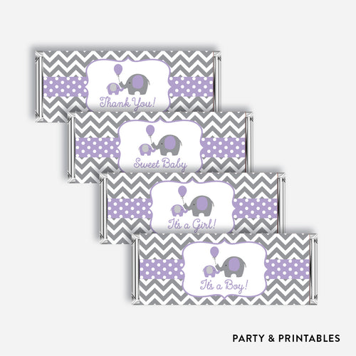 Elephant Standard Candy Bar Wrapper / Non-Personalized / Instant Download (SBS.38)