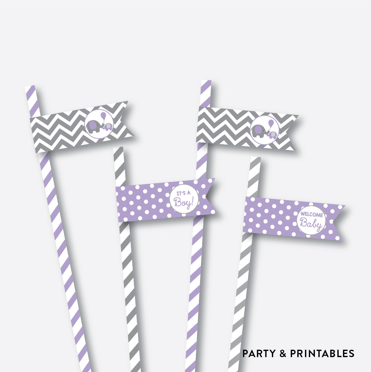 Elephant Straw Flags / Non-Personalized / Instant Download (SBS.38)