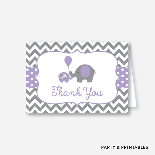 Elephant Baby Shower Thank You / Non-Personalized / Instant Download (SBS.38)