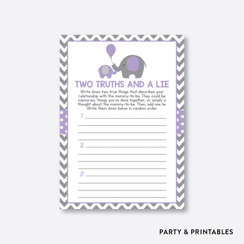 Elephant Two Truths And A Lie / Non-Personalized / Instant Download (SBS.38)