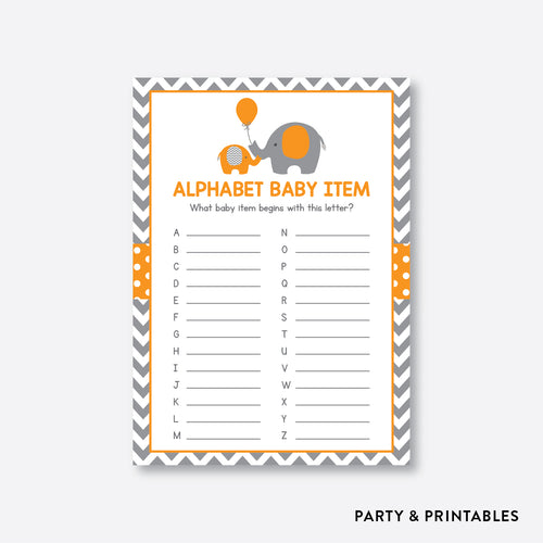 Elephant Alphabet Baby Item / Non-Personalized / Instant Download (SBS.39)