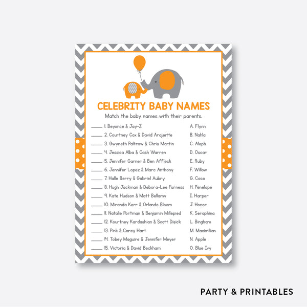 Elephant Celebrity Baby Names / Non-Personalized / Instant Download (SBS.39)