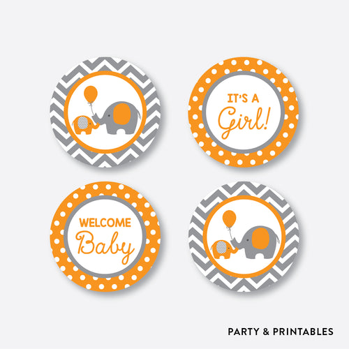 Orange Elephant Cupcake Toppers / Non-Personalized / Instant Download (SBS.39)