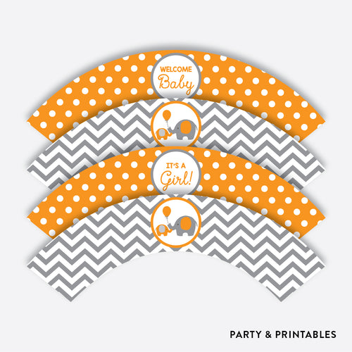 Elephant Cupcake Wrappers / Non-Personalized / Instant Download (SBS.39)