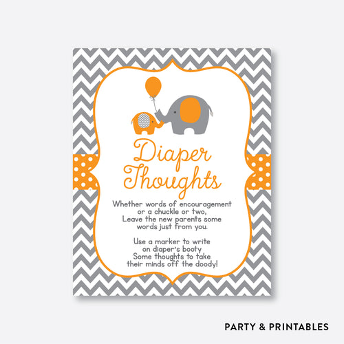 Elephant Diaper Thoughts / Non-Personalized / Instant Download (SBS.39)