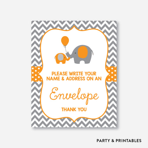 Elephant Address an Envelope Sign / Non-Personalized / Instant Download (SBS.39)