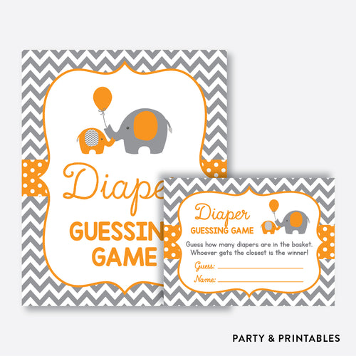 Elephant Guess How Many Diapers / Non-Personalized / Instant Download (SBS.39)