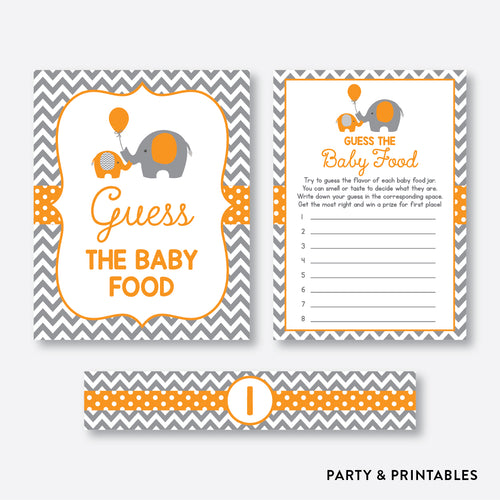 Elephant Guess The Baby Food / Non-Personalized / Instant Download (SBS.39)
