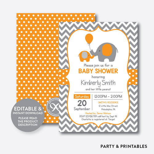 Elephant Baby Shower Invitation / Editable / Instant Download (SBS.39)