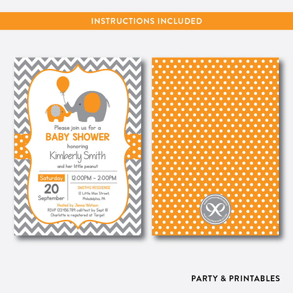 Elephant Baby Shower Invitation / Editable / Instant Download (SBS.39), invitation - Party and Printables