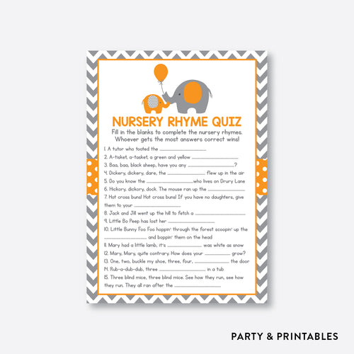 Elephant Nursery Rhyme Quiz / Non-Personalized / Instant Download (SBS.39)