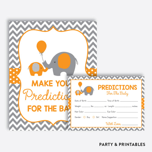Orange Elephant Predictions For The Baby / Non-Personalized / Instant Download (SBS.39)