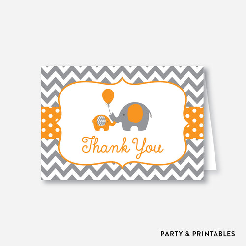 Elephant Baby Shower Thank You / Non-Personalized / Instant Download (SBS.39)