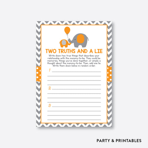 Elephant Two Truths And A Lie / Non-Personalized / Instant Download (SBS.39)
