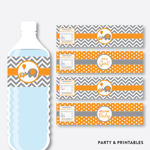 Elephant Water Bottle Labels / Non-Personalized / Instant Download (SBS.39)
