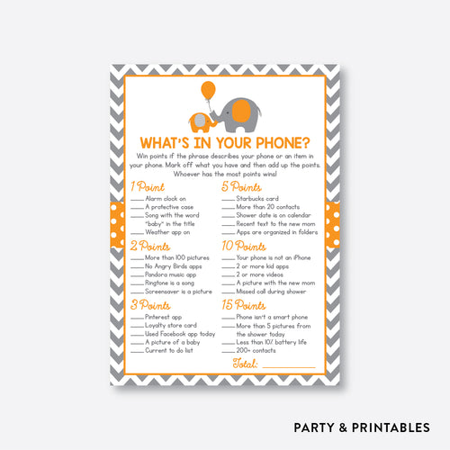 Elephant What's In Your Phone / Non-Personalized / Instant Download (SBS.39)