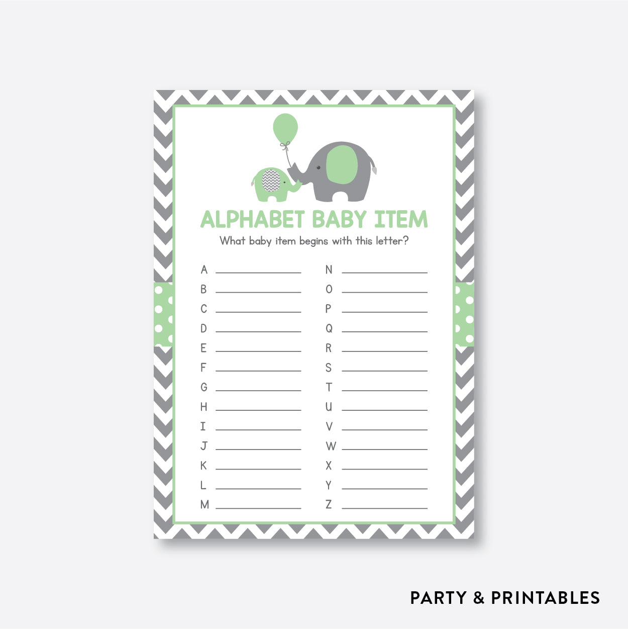 Elephant Alphabet Baby Item / Non-Personalized / Instant Download (SBS.40)