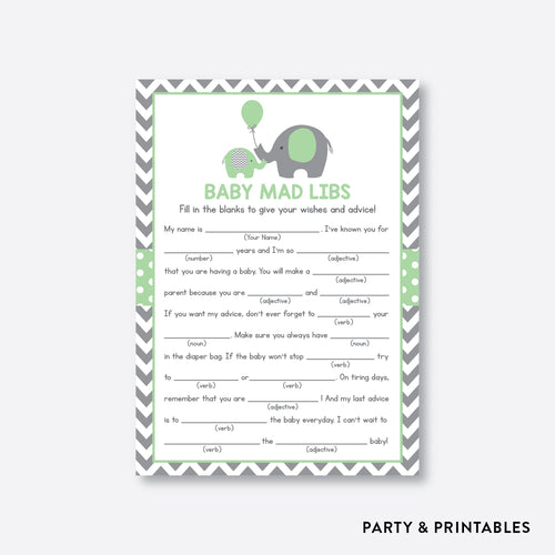 Elephant Mad Libs / Non-Personalized / Instant Download (SBS.40)