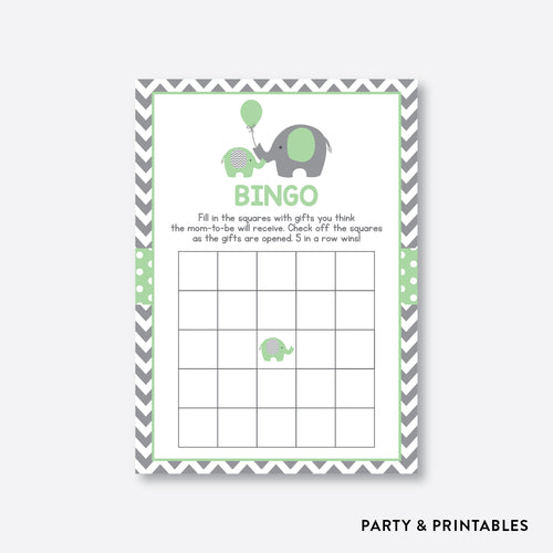 Elephant Bingo / Non-Personalized / Instant Download (SBS.40)