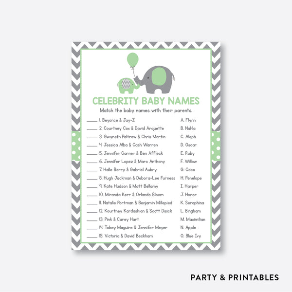 Elephant Celebrity Baby Names / Non-Personalized / Instant Download (SBS.40)