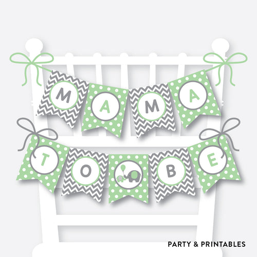 Green Elephant Chair Banner / Baby Shower Banner / Non-Personalized / Instant Download (SBS.40)