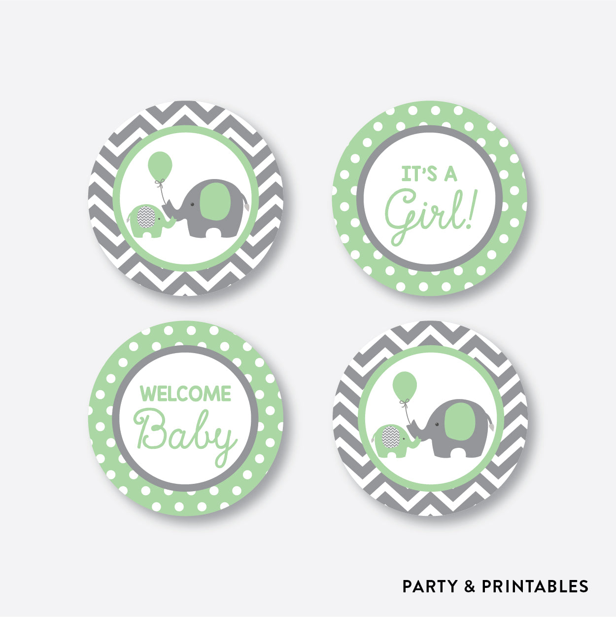 Elephant Cupcake Toppers / Non-Personalized / Instant Download (SBS.40)