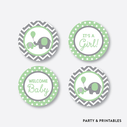 Green Elephant Cupcake Toppers / Non-Personalized / Instant Download (SBS.40)