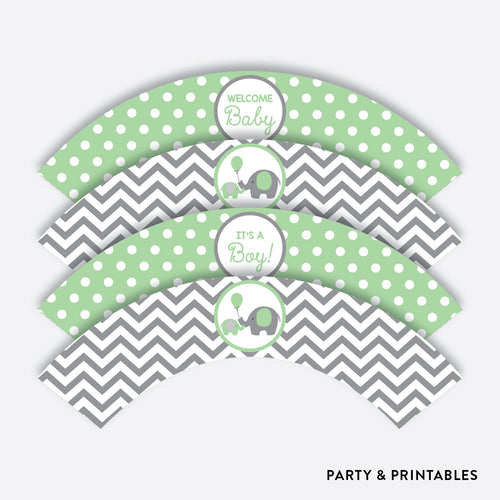 Elephant Cupcake Wrappers / Non-Personalized / Instant Download (SBS.40)