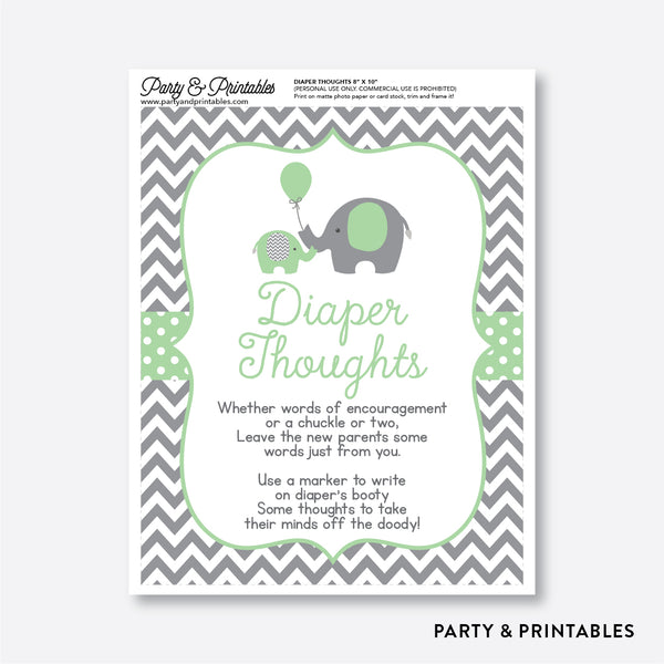 Elephant Diaper Thoughts / Non-Personalized / Instant Download (SBS.40)