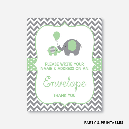 Elephant Address an Envelope Sign / Non-Personalized / Instant Download (SBS.40)