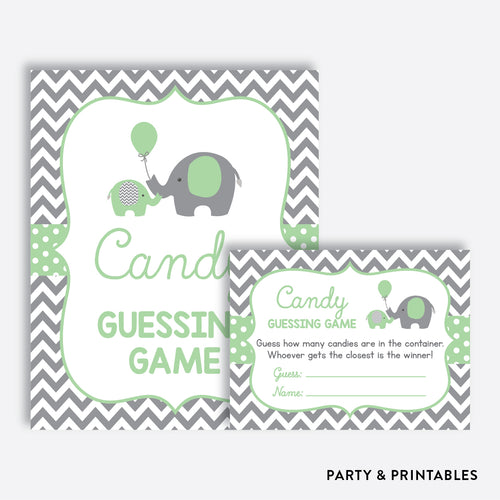 Elephant Guess How Many Candies / Non-Personalized / Instant Download (SBS.40)