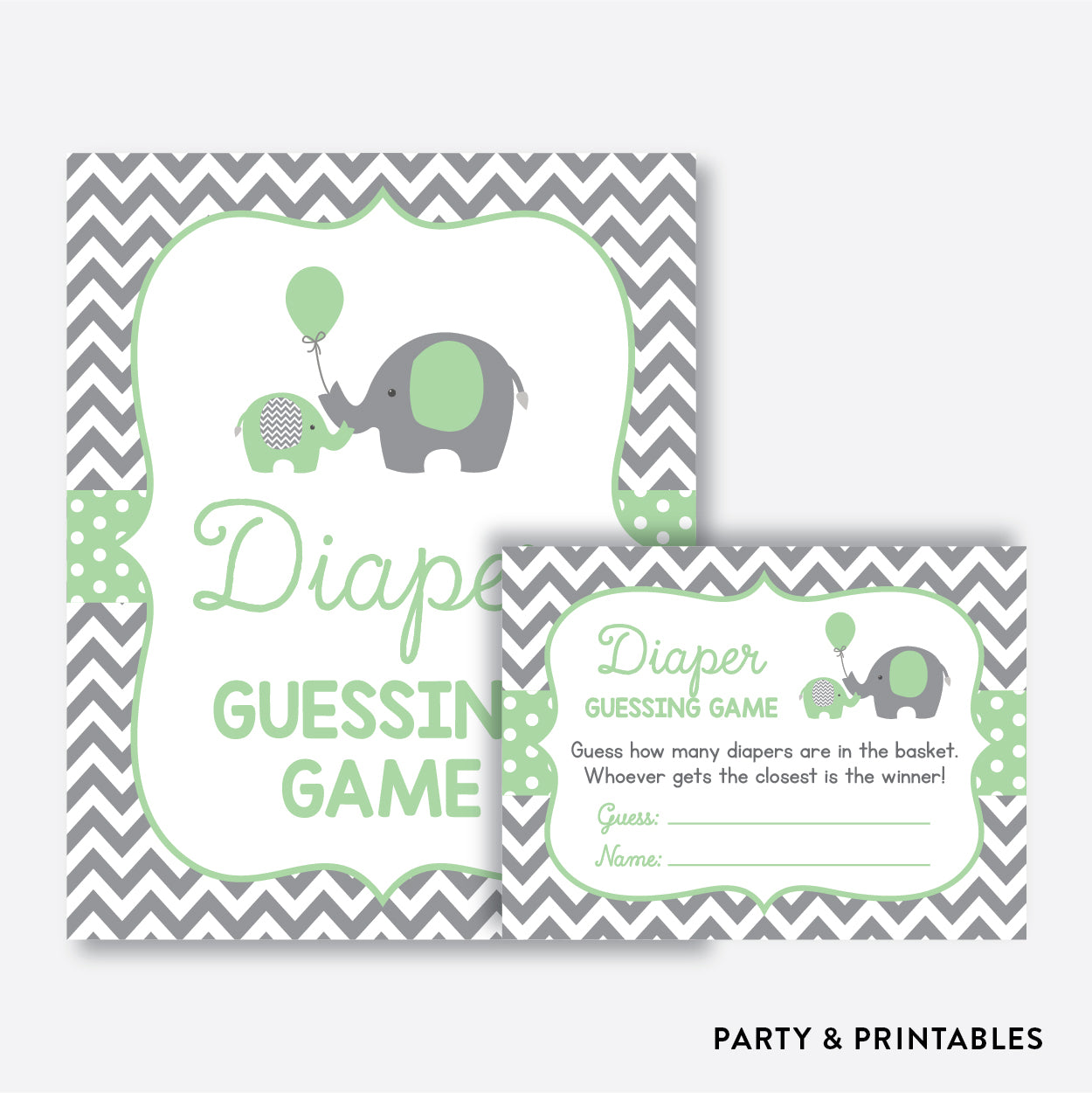 Elephant Guess How Many Diapers / Non-Personalized / Instant Download (SBS.40)