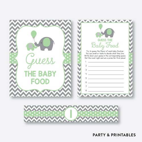 Elephant Guess The Baby Food / Non-Personalized / Instant Download (SBS.40)