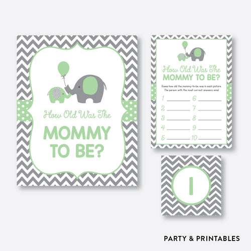Elephant How Old Was Mommy To Be / Non-Personalized / Instant Download (SBS.40)