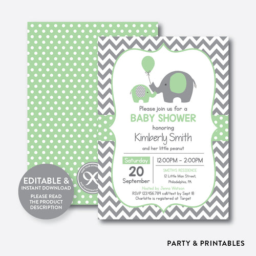 Elephant Baby Shower Invitation / Editable / Instant Download (SBS.40)
