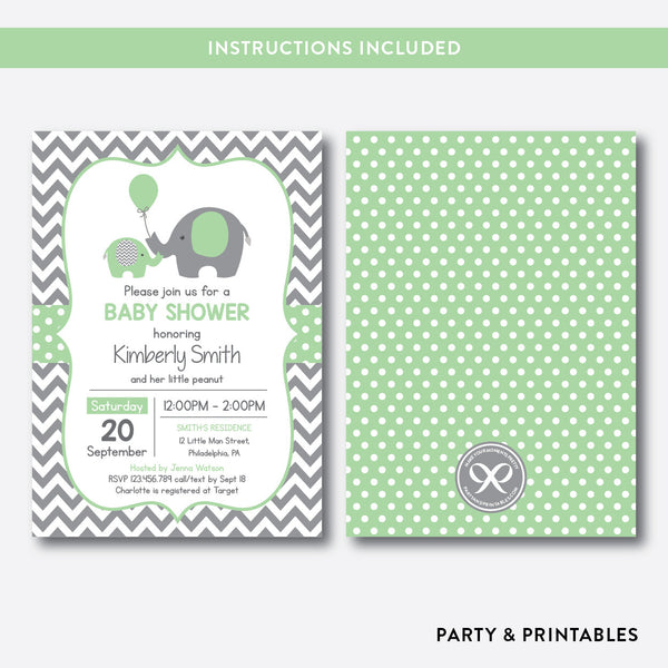 Elephant Baby Shower Invitation / Editable / Instant Download (SBS.40), invitation - Party and Printables