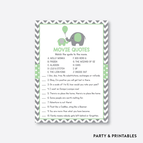Elephant Movie Quotes / Non-Personalized / Instant Download (SBS.40)