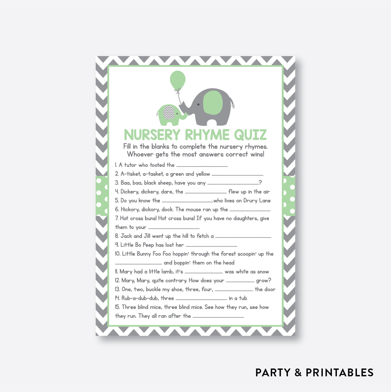 Elephant Nursery Rhyme Quiz / Non-Personalized / Instant Download (SBS.40)