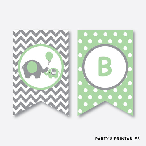 Elephant Party Banner / Baby Shower Banner / Non-Personalized / Instant Download (SBS.40)