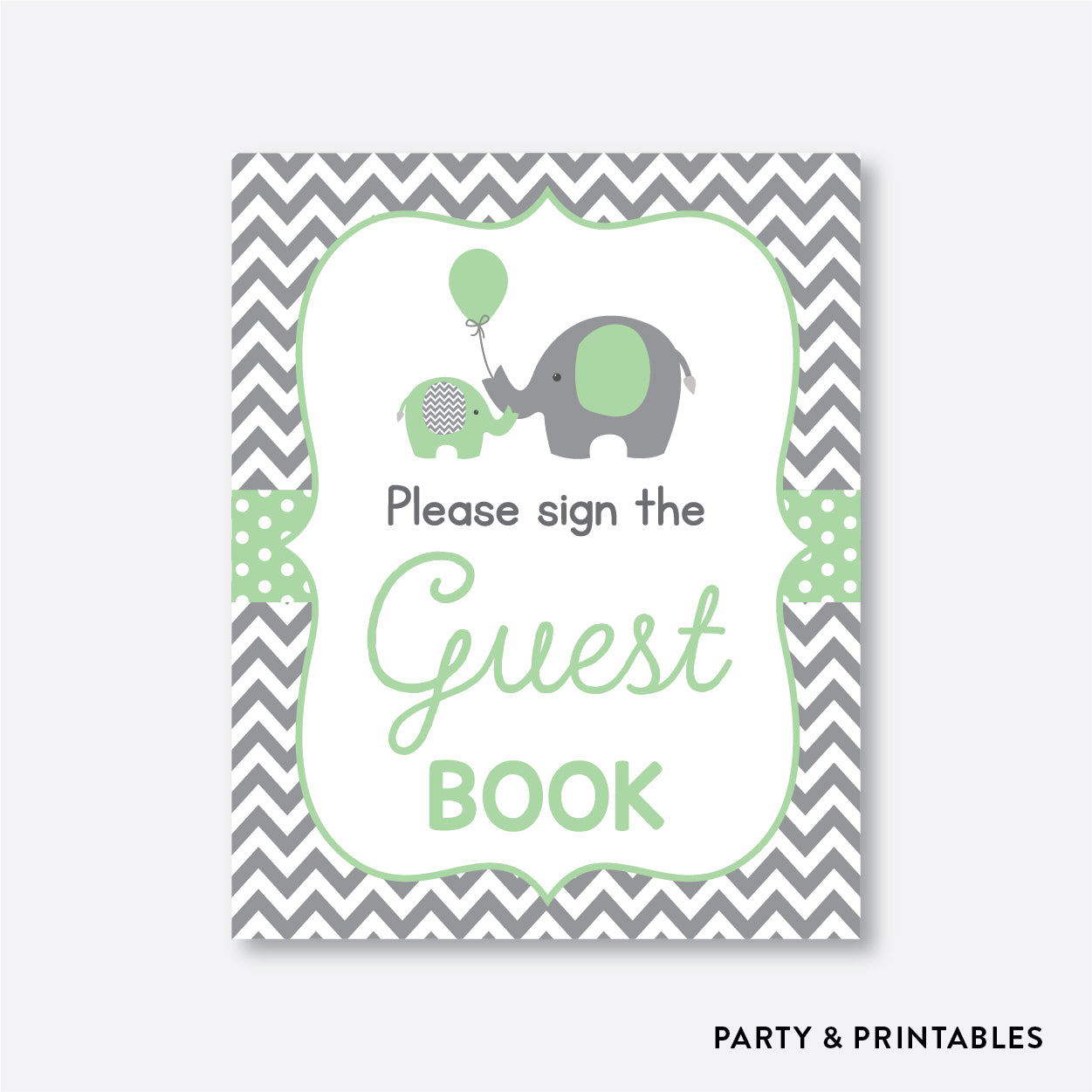 Elephant Party Signs / Non-Personalized / Instant Download (SBS.40)