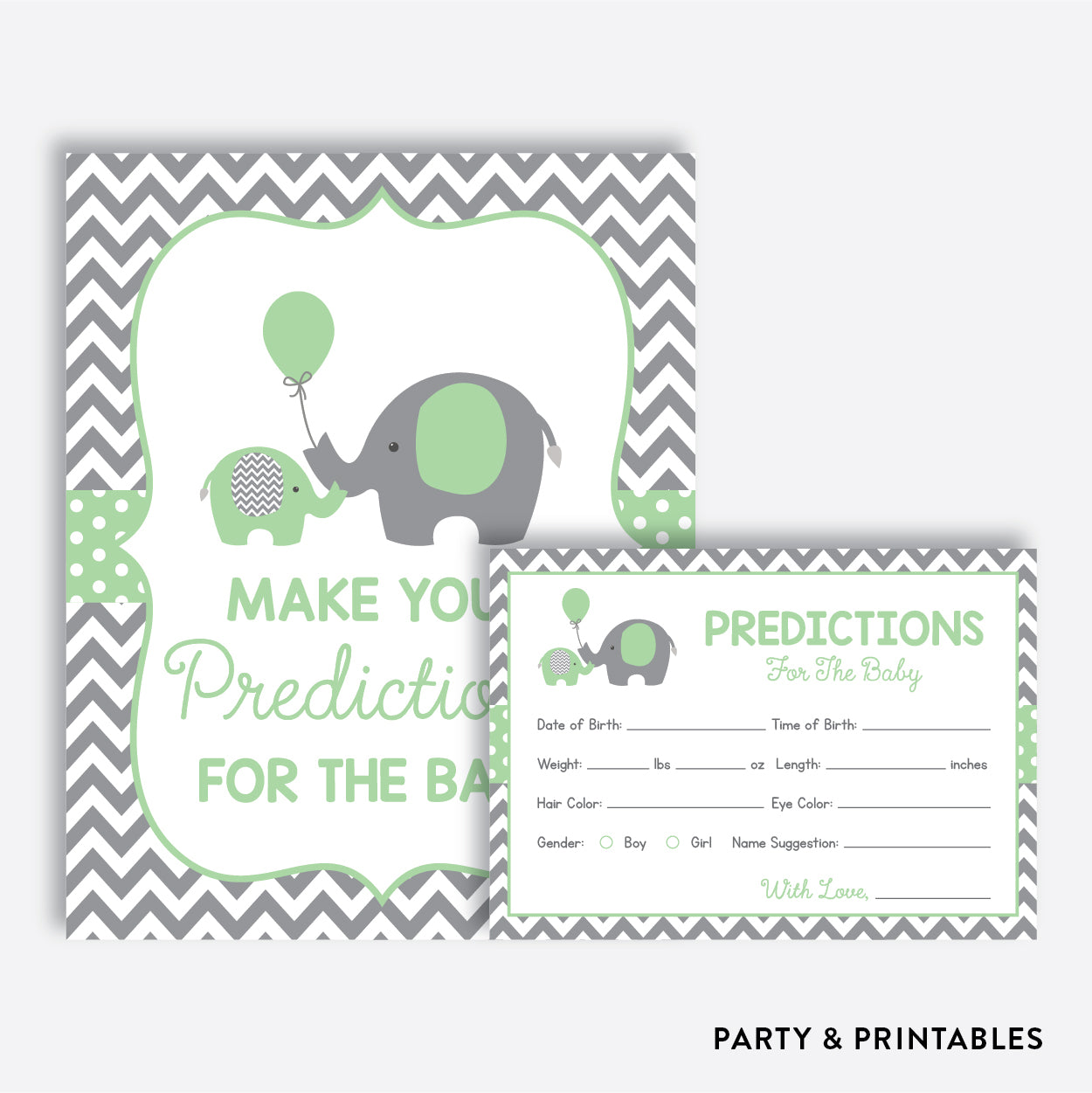 Elephant Predictions For The Baby / Non-Personalized / Instant Download (SBS.40), party printables - Party and Printables