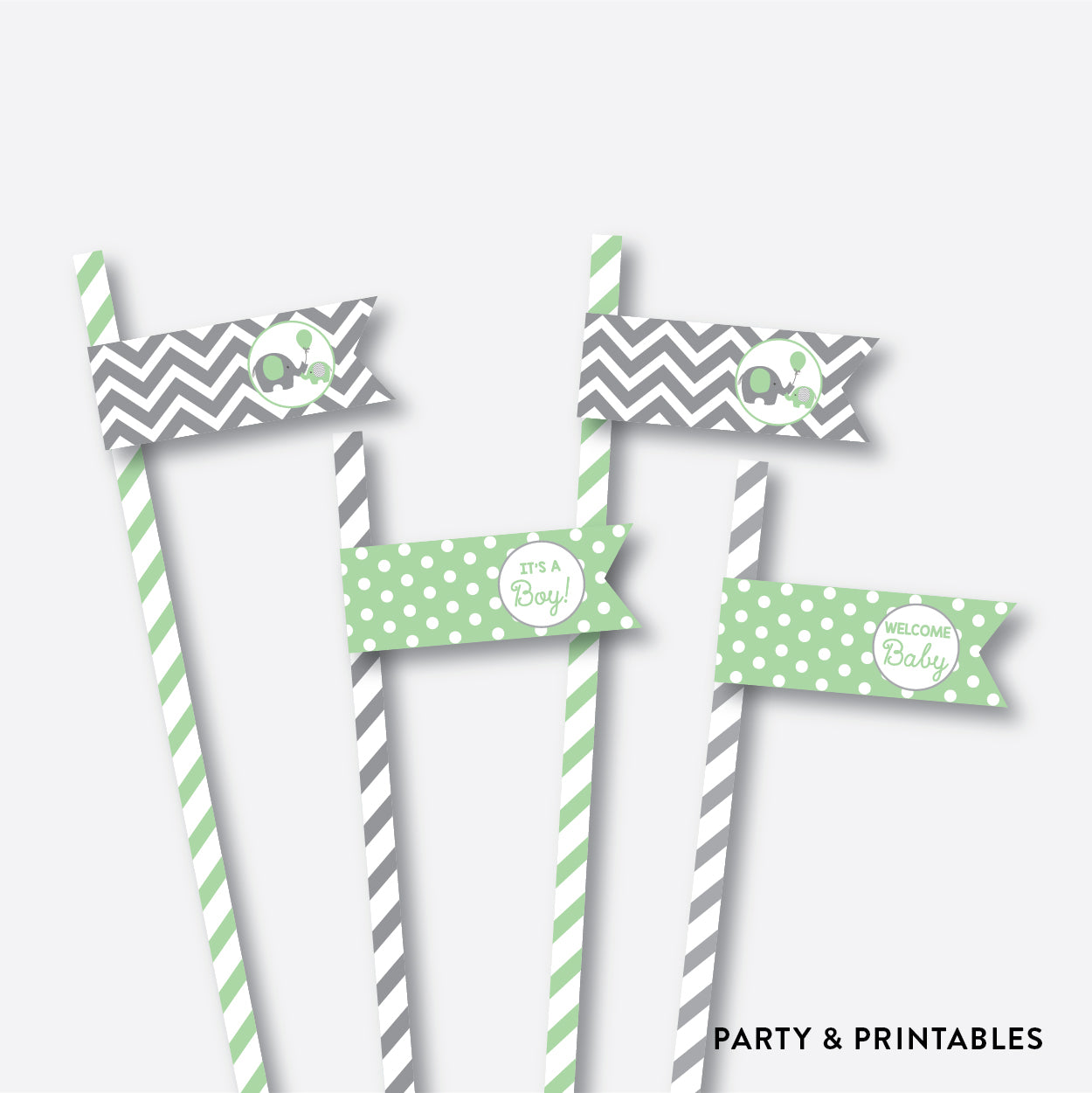 Elephant Straw Flags / Non-Personalized / Instant Download (SBS.40)