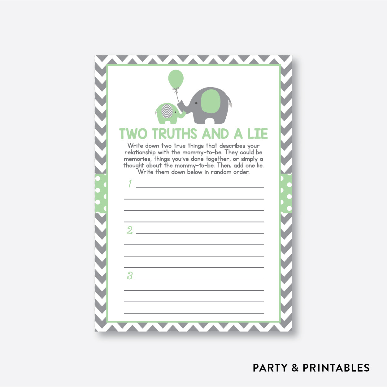 Elephant Two Truths And A Lie / Non-Personalized / Instant Download (SBS.40)