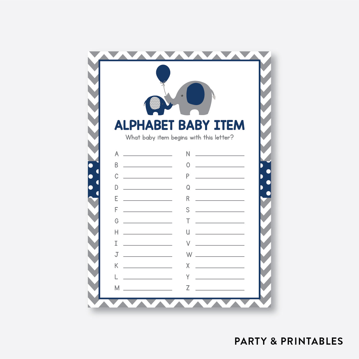 Elephant Alphabet Baby Item / Non-Personalized / Instant Download (SBS.41)