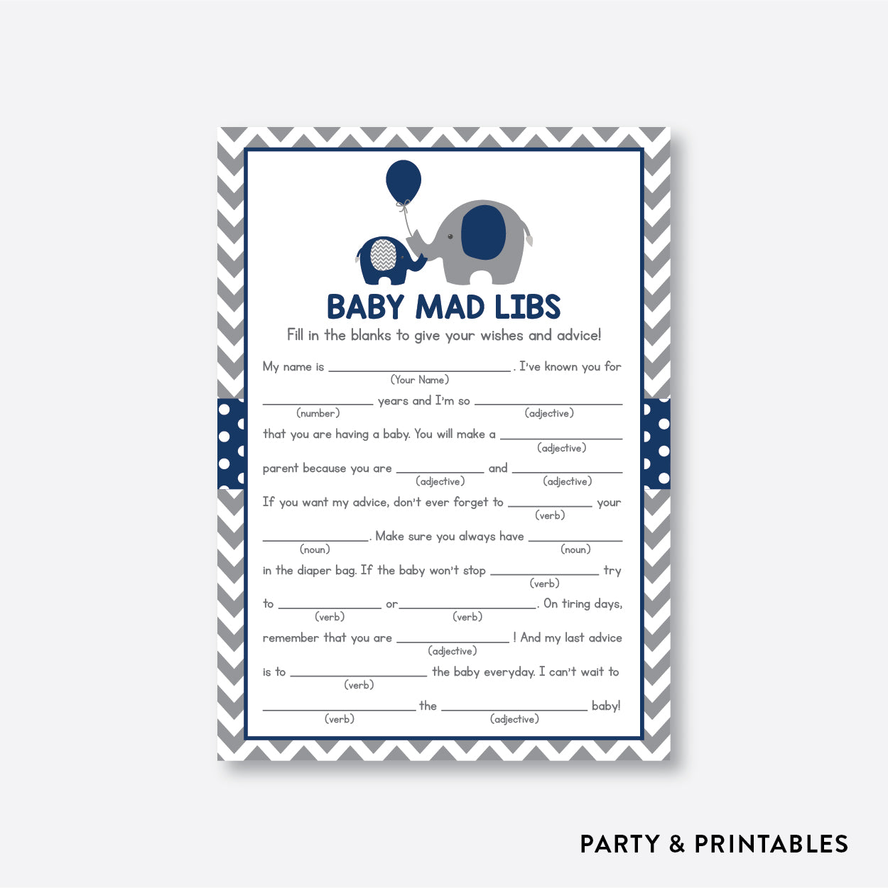 Elephant Mad Libs / Non-Personalized / Instant Download (SBS.41)