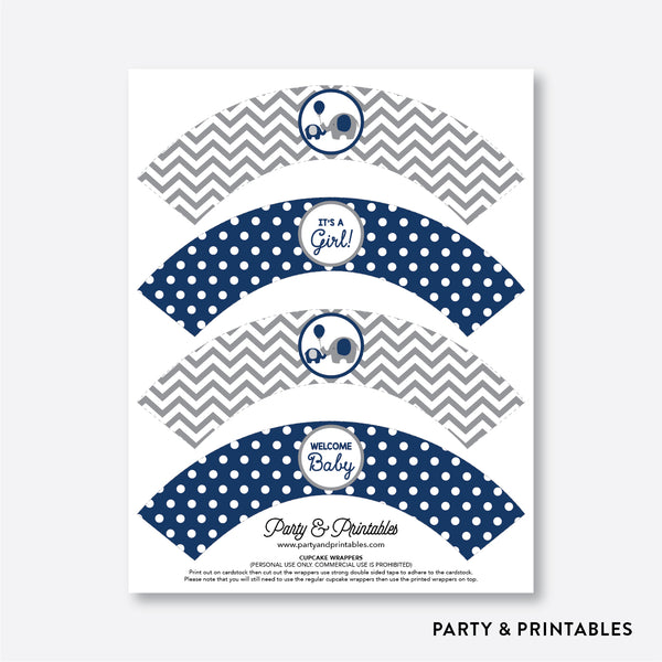 Elephant Cupcake Wrappers / Non-Personalized / Instant Download (SBS.41)