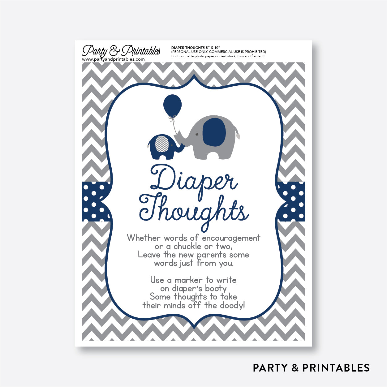 Elephant Diaper Thoughts / Non-Personalized / Instant Download (SBS.41)